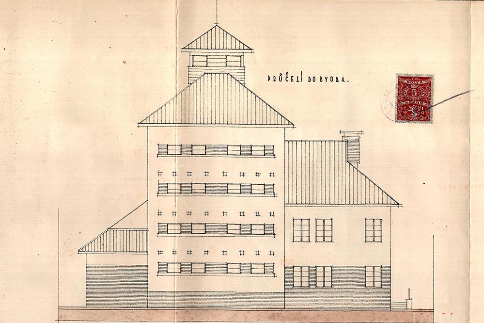 Obilní skladiště Ražice - plán přestavby 1936